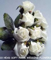 4 Bunches of 10 Soft Foam Wedding Flowers/Bride, Bouquet
